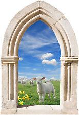 Sticker mural trompe l'oeil Arche déco agneau réf 889