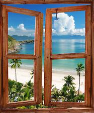 Sticker trompe l'oeil fenêtre déco Beach réf 725