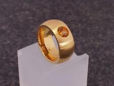 Edelstahl Ring Gelbgold vergoldet matt Damen Kugel Swarovski breiter Bandring 10