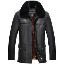 Men Winter Fur Collar Fleece Lined High-quality Leather Jacket Warm Coat Outwear