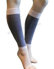 Calf Leg Running Gym Compression Sleeve Socks Shin Support Brace Guard Wh/Grey