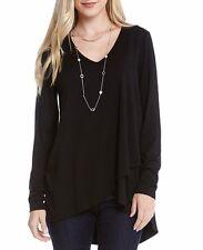 Karen Kane 4L13479 Black L/S Asymmetrical Hem Stretch Jersey Wrap Top - $88