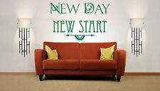 NEW DAY nuovo inizio Citazione Vinile Muro ARTE Adesivo, Murale, decalcomania. Home, Wall Decor