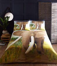Elefante Africano Copripiumino Set di biancheria da letto Multi etnica Safari Lago Marrone Blu