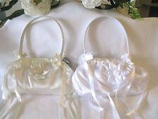 Pretty ivory & white satin bag handbag bridesmaid flowergirl wedding communion