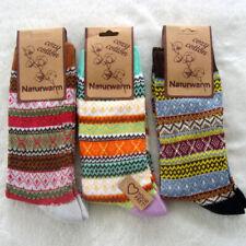 3 Paar Damen Norweger Socken Wolle Baumwolle bunt flauschig weich Gr 35-42 neu