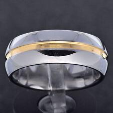 5/8mm Silver Tungsten Carbide Polish Gold Line Men Women Wedding Ring Jewelry