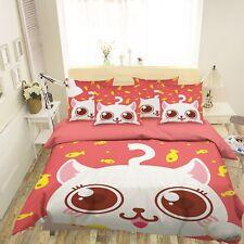 3D Cat Fish 40 Bed Pillowcases Quilt Duvet Cover Set Single Queen King Au Cobb