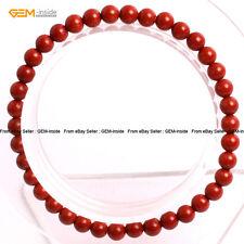 "Beads Energy Healing Stretch Bracelet 7"" Mens Womens Natural Red Jasper Stone"