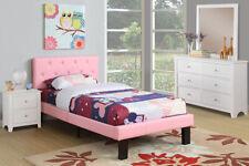 Kid's Bedroom PU Upholstered Platform Twin Size Bed Tufted Headboard PINK
