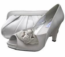 Ladies Wedding Party Heel Shoe Evening Shoes Peep Toe Silver Satin NEW