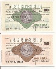 04-1976 BANCO DI SICILIA CATANIA COPPIA MINI ASSEGNI L. 100 + L. 150 A FIPE FDS