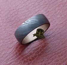 "Custom Made Damascus Steel Stainless Steel Brass Inlay Men Engagement Ring""VINE"""
