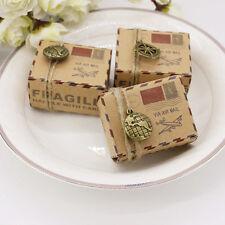 50/100Pcs Retro Map Wedding Favour Party Paper Gift Boxes + Jute String + Decor