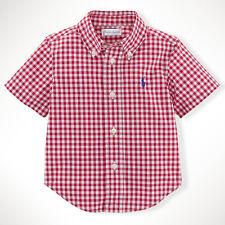 PICK 1 color RL Baby Toddler Boy short sleeve Gingham Cotton Blake Shirt 24M