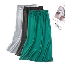 Women's 100% Pure Silk Satin Fishtail Midi Pencil Skirt Long Dress JN020