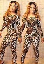 Abito tuta trasparente aderente stampa Skinny Print mesh Jumpsuit Dress Clubwear