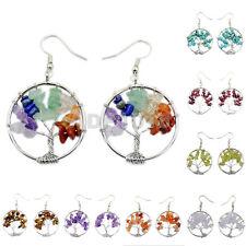 30mm Silver Tree Life Wire Wrap Gemstone Crystal Quartz Chip Bead Hook Earrings