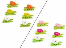 * 6 Dekoklammern aus Holz   mit Blumendekor   2 verschiedenfarbige Sets