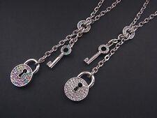 Kette Halskette Kurze Kette mit Anhänger Schloss Schlüssel Crystal oder Multicol