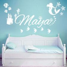 Personalised Name Children Wall Art Sticker - Disney Little Mermaid, Ocean, Cast