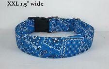 Royal Blue Bandana Terri's Dog Collar handmade adjustable charm western fabric