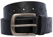 Nuevo Para hombres Cuero Genuino Negro Patrón De Diamante Hebilla cinturones de cuero S-3XL