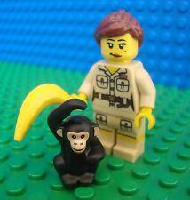 Lego Zoo Keeper & Monkey minifig Animal City Town 8805 Minifigures Series 5