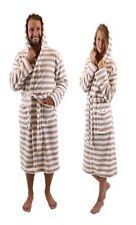 Betz Men/Women Unisex Bathrobe ROME with hood colour:  brown-white