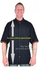 Big Mens Black BTS Troy Extra Tall Grandad Shirt 2XL 3XL 4XL 5XL 6XL 7XL 8XL