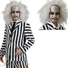 Mens Deluxe Beetlejuice Costume Ghost Halloween 80s Fancy Dress + Wig + Make Up