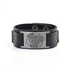 Slavic Kolovrat Charm Leather Bracelet Medieval Russia Men Women Cuff Bangle