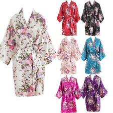 New Women Short floral Robe Dressing Gown Bridal Wedding Bride Bridesmaid Kimono