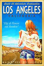 LOS ANGELES California Original ROUTE 66 Travel Poster Pin Up Art Print 160