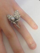 C24 Oak Leaves English Pewter Ladies Ring, Adjustable Handmade in Sheffield