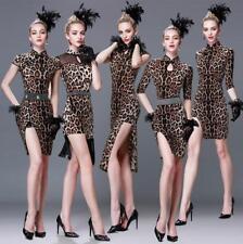 Ballroom Competition Dance Dress Tassels Latin Dress Slim Fit Leopard Skirt b356