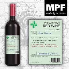 Personalised Novelty Prescription Wine Bottle Label - Birthday/Christmas Gift
