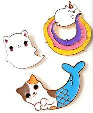 CUTE KITTY LAPEL PIN enamel brooch ghost mermaid rainbow glitter unicorn cat 2G