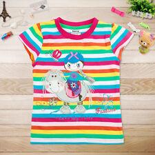 Brand new girls rainbow stripe short sleeve pony summer top shirt tshirt clothes