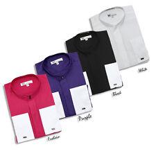 Men's Fashion Hidden Button French Cuff Mandarin Collar/Collarless Dress Shirt