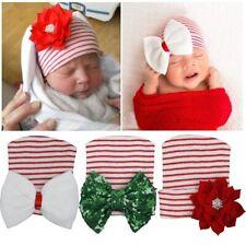 Cotton Hospital Rhinestone Bowknot Striped Cap Christmas Newborn Beanie Hat