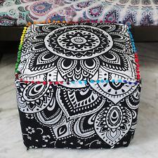 Traditional Cotton Pouf Cover Ottoman Pouffie Indian Mandala Square Pouf Cover