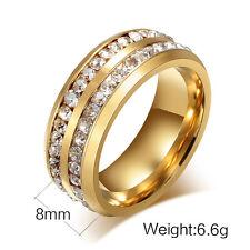 Edelstahl Damen Ring Gold Strass Ehering Verlobungsring Freundschaftsring Neu*