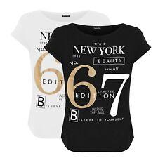 Womens Plus Size New York 67 Slogan Print Short Sleeve Round Neck T-Shirt Top