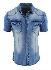 Camicia di Jeans uomo Blu denim a manica corta slim fit aderente S M L XL XXL