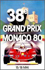 Monaco Grand Prix 1980 Car Racing Vintage Poster Print Tourism Racing Decor Art