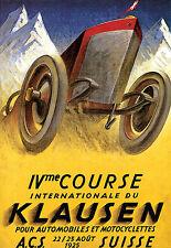 Art Poster - International Automobile Race Swiss 1925 - Car and Bikes  A3 Print