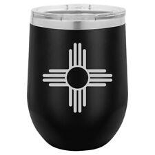 Stemless Wine Tumbler Coffee Travel Mug Glass New Mexico Sun Symbol
