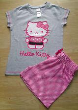 NEW GIRLS HELLO KITTY SHORT PYJAMAS GREY & PINK AGES 9 10 13 14 YEARS