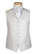 CREAM IVORY DIAMOND WEDDING FORMAL DRESS WAISTCOAT ALL SIZES £10 WAIST COAT